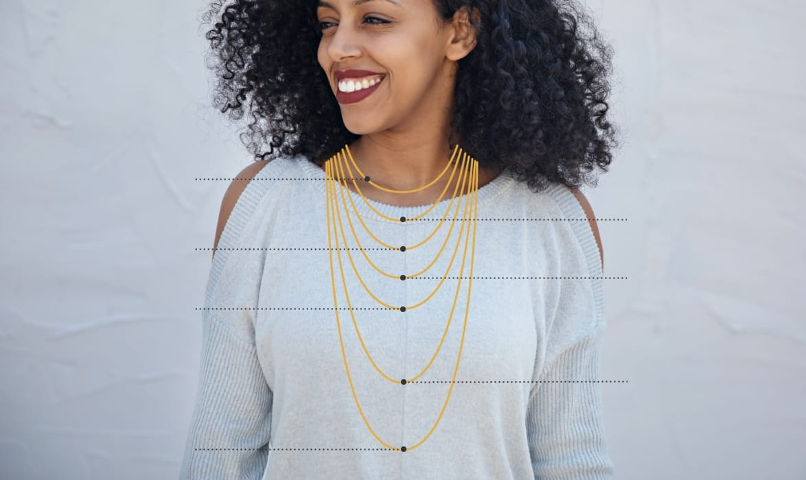 Woman wearing chain necklaces