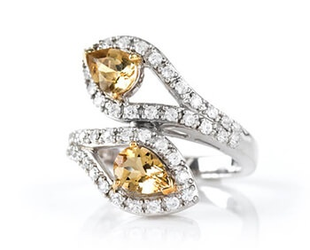 Yellow Beryl and Zircon Bypass Ring