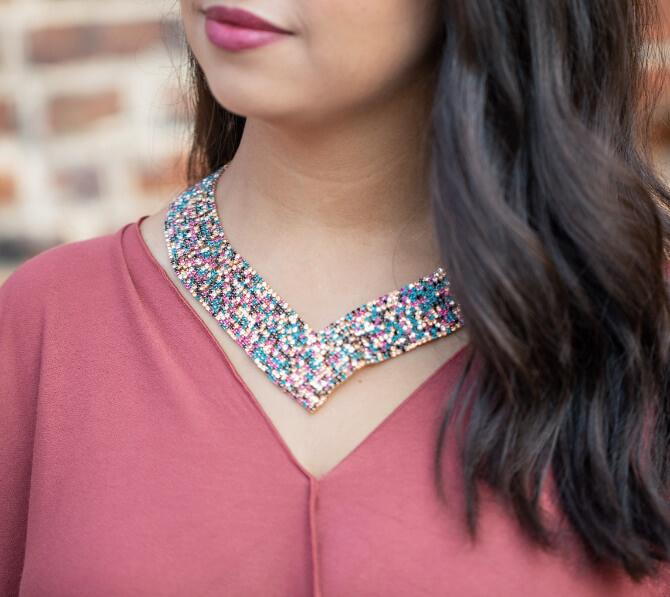 Woman wearing a bib necklace
