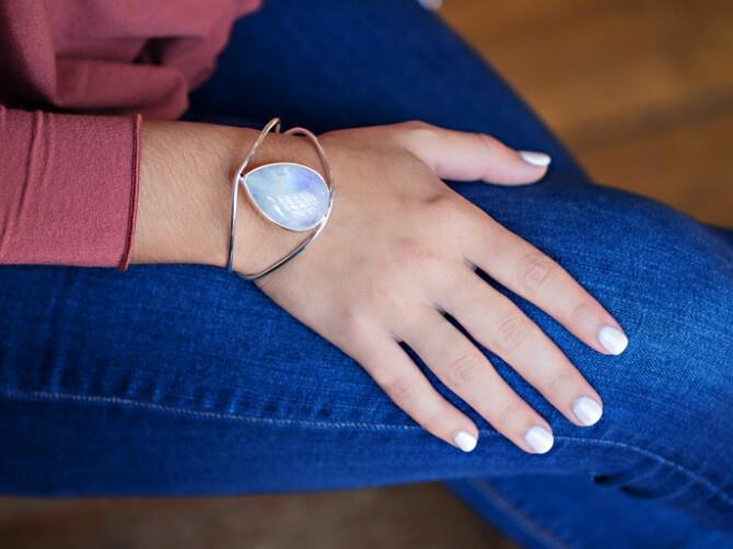 Woman wearing a cuff bracelet