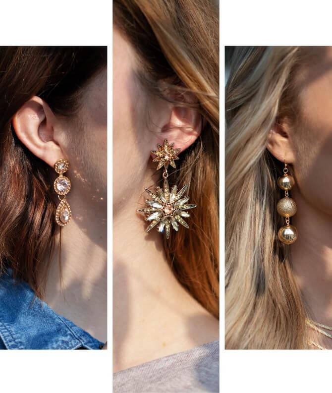 Women wearing Long Statement Earrings