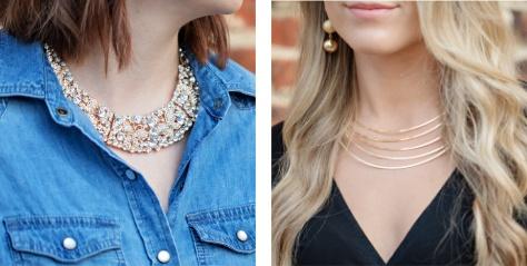 Women wearing bib necklaces