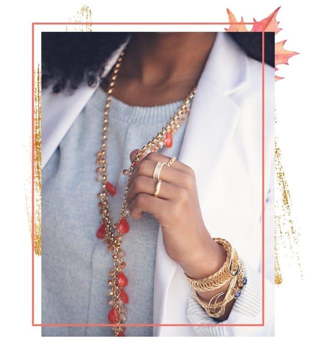 Woman wearing coral jewelry