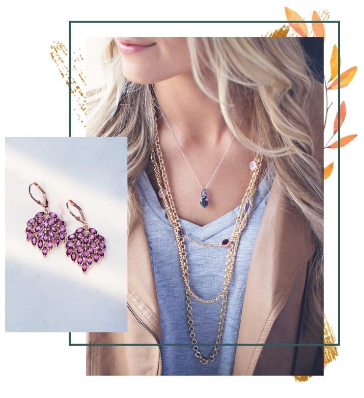 Woman wearing Jewel Tone jewelry
