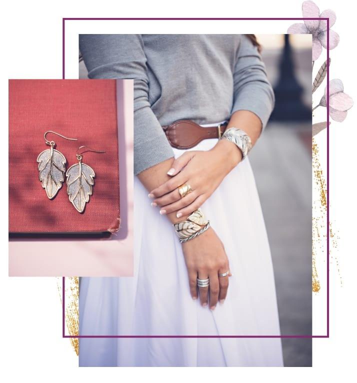 Woman wearing nature-inspired jewelry