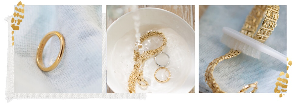 Gold jewelry and cleaning supplies
