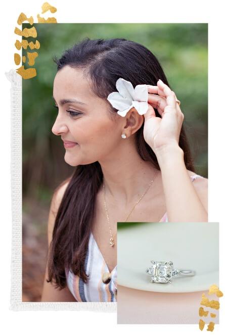 Woman wearing white gold jewelry