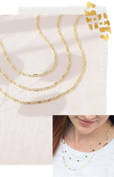 Gold necklaces and chains