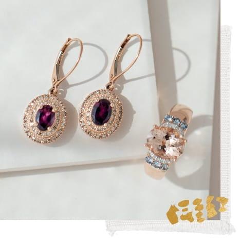 Rose gold gemstone ring