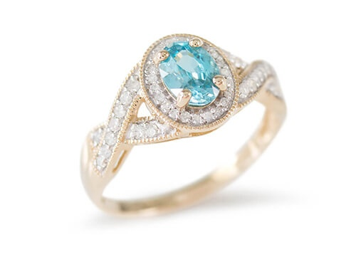 Blue Zircon Yellow Gold Ring