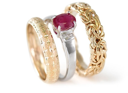 Yellow Gold Band Ring, White Gold Ruby Ring, Yellow Gold Byzantine Link Ring