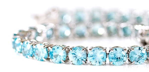 Blue Zircon White Gold Tennis Bracelet