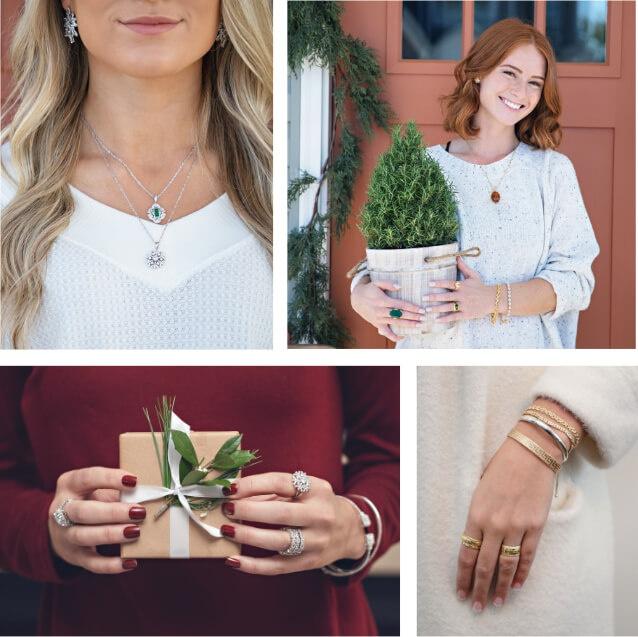 Women wearing holiday jewelry