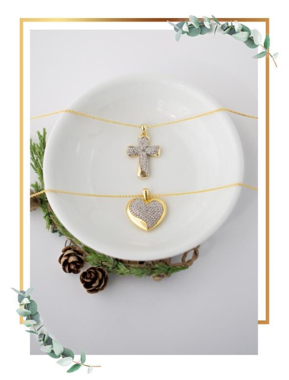 Cross and heart pendants