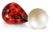 Pearl and Spessartite Gemstones