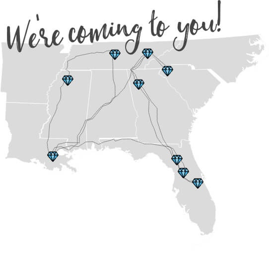 We're coming to you! Map of the southeastern United States with Jewelry Love Tour bus stops.