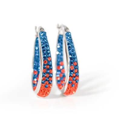 Blue and orange gemstone earrings