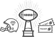 Football helmet, football trophy and football tickets