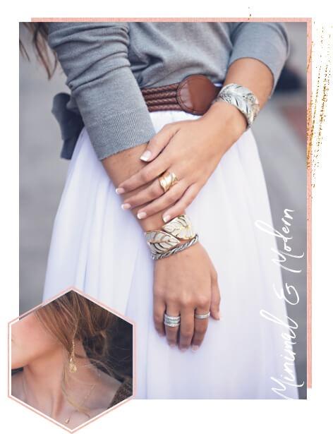 Women wearing all metal jewelry