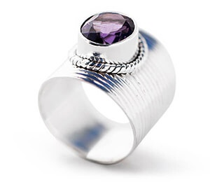 African Amethyst Solitaire Sterling Silver Ring