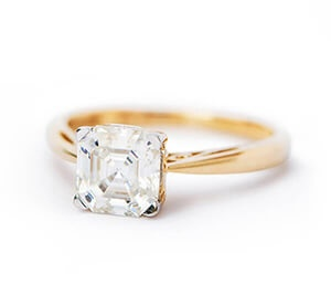 Moissanite Fire Asscher Cut Yellow Gold Ring
