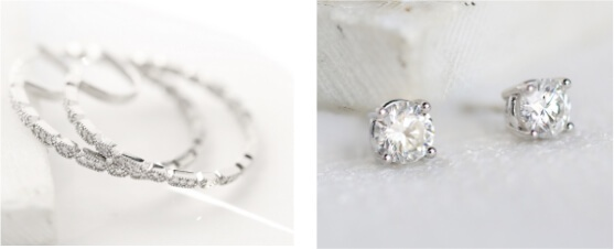 lab-grown diamond hoop earrings and stud earrings
