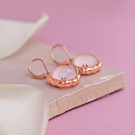 Pink rose quartz earrings