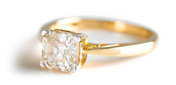 Asscher Cut Moissanite Fire Ring