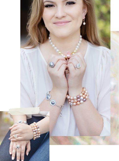 Woman wearing pearl jewelry