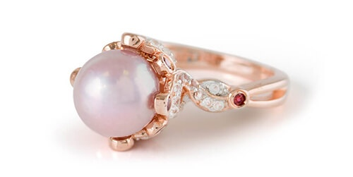 Freshwater Pearl and Rose Gold over Silver Ring
