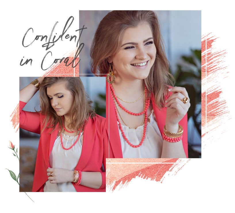 Confident in Coral - Women wearing coral jewelry
