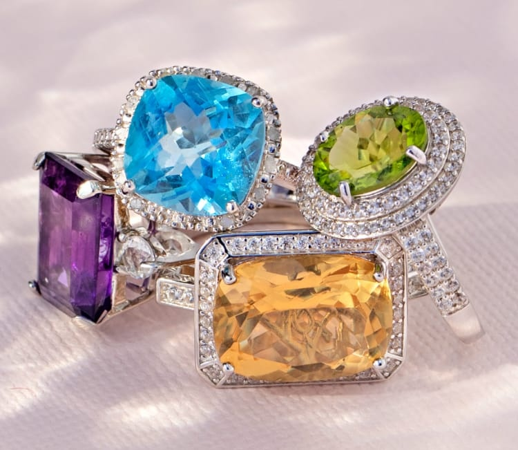Colorful gemstone rings