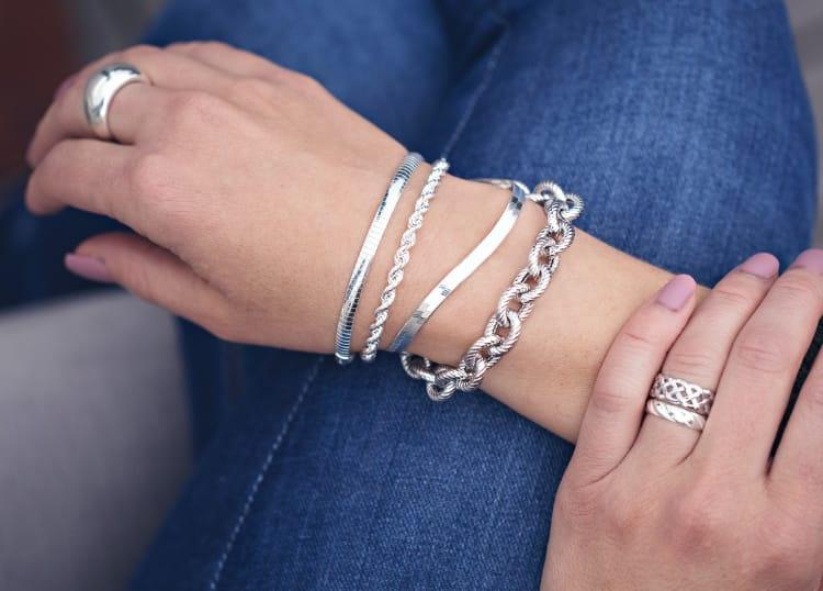 Woman wearing silver bracelets