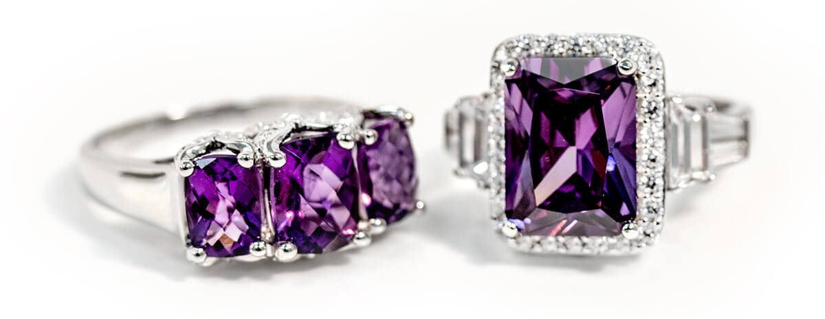 Amethyst and Amethyst simulant rings