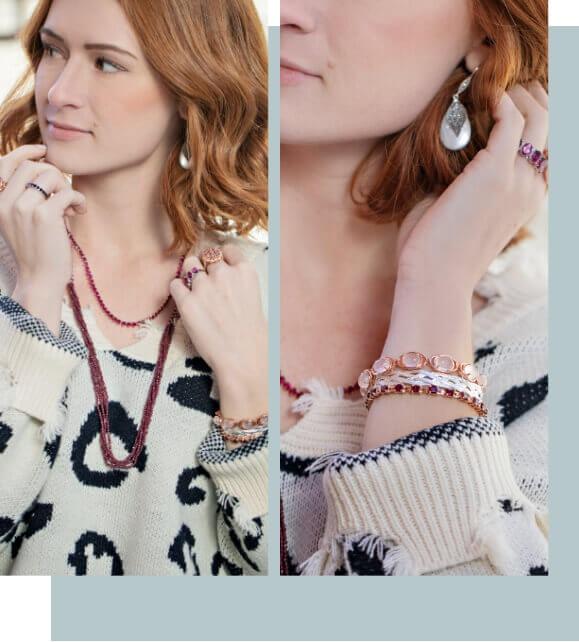 Woman wearing earrings, rings and bracelets