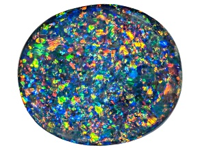 Black Opal 24.76x21.35x5.90mm Oval Cabochon 18.07ct